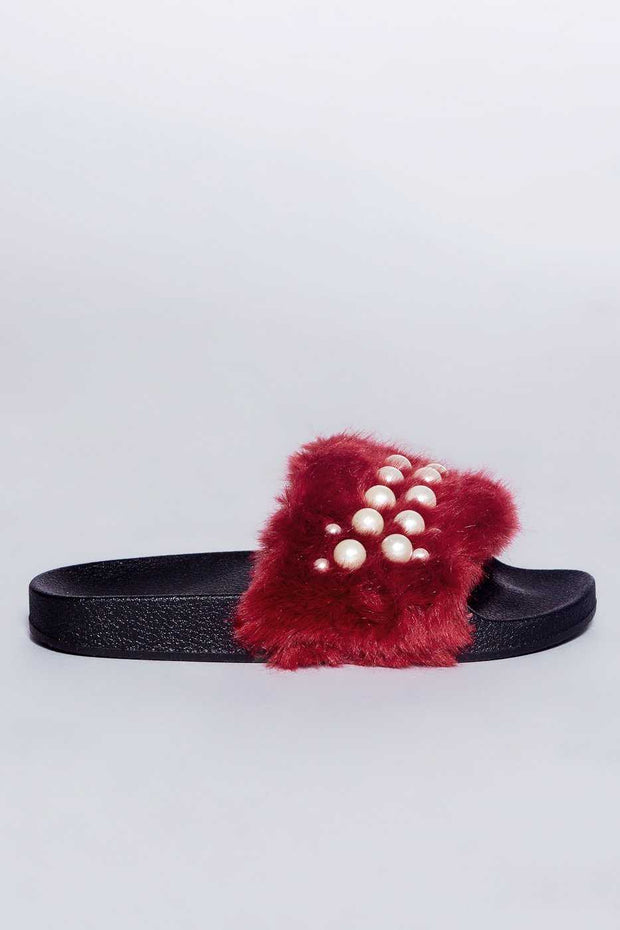 Shoes - Chanell Fur Slides - Burgundy