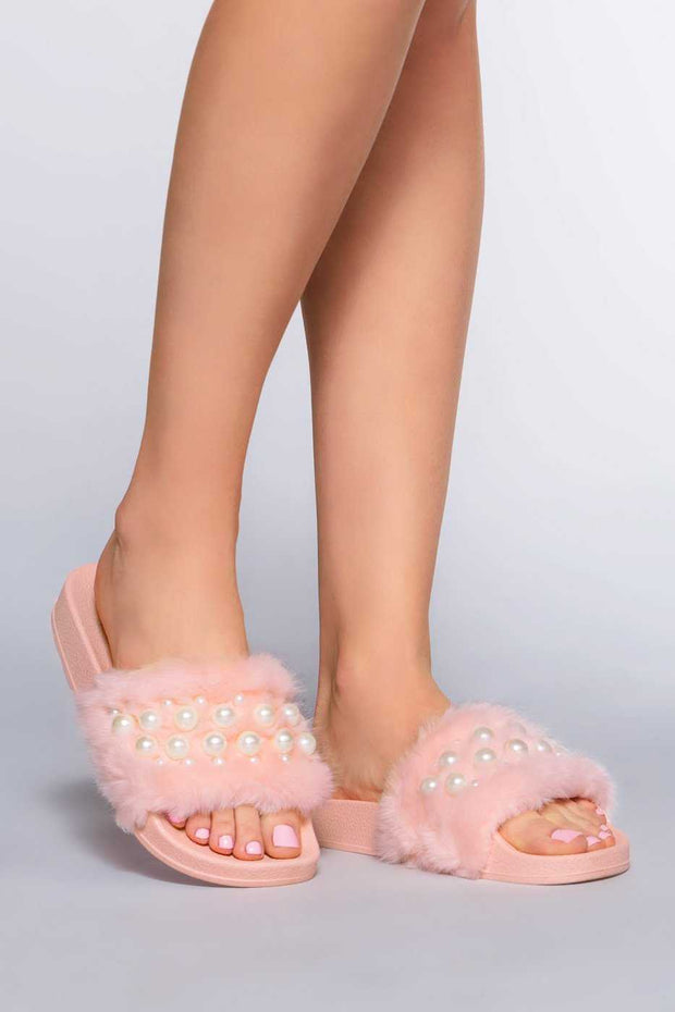 Shoes - Chanell Fur Slides - Pink