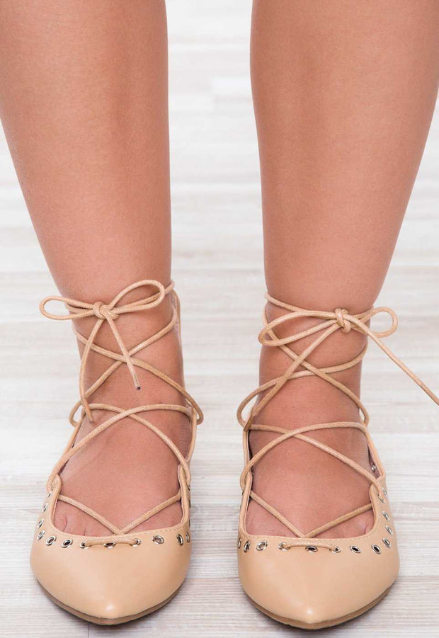 Shoes - Check Yourself Lace Up Flats