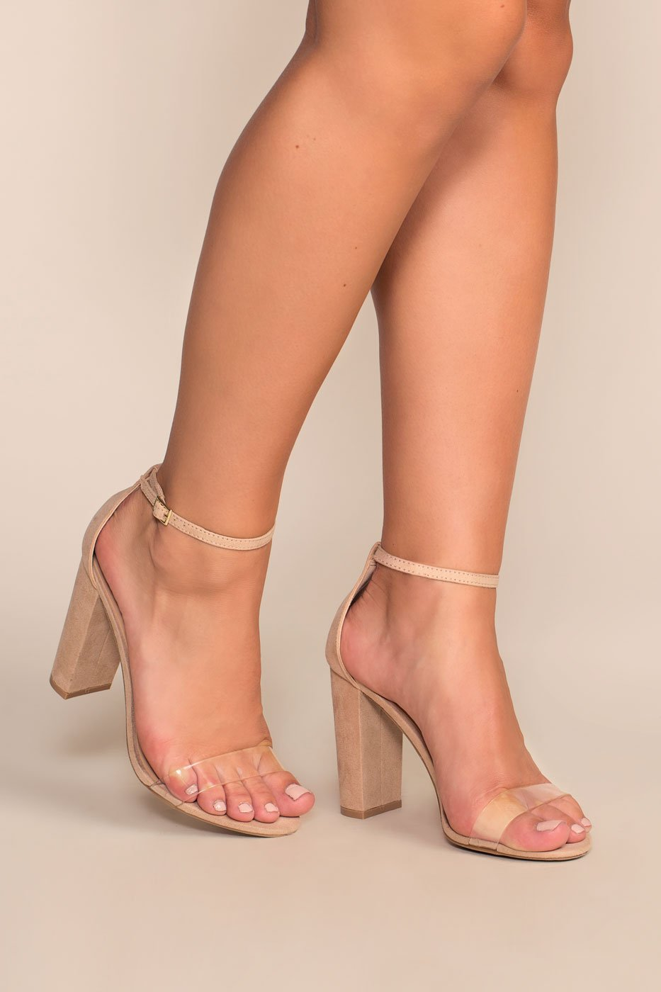 4fb0bd4d69d Cynthia Nude Vegan Suede Ankle Strap Heels - Nude