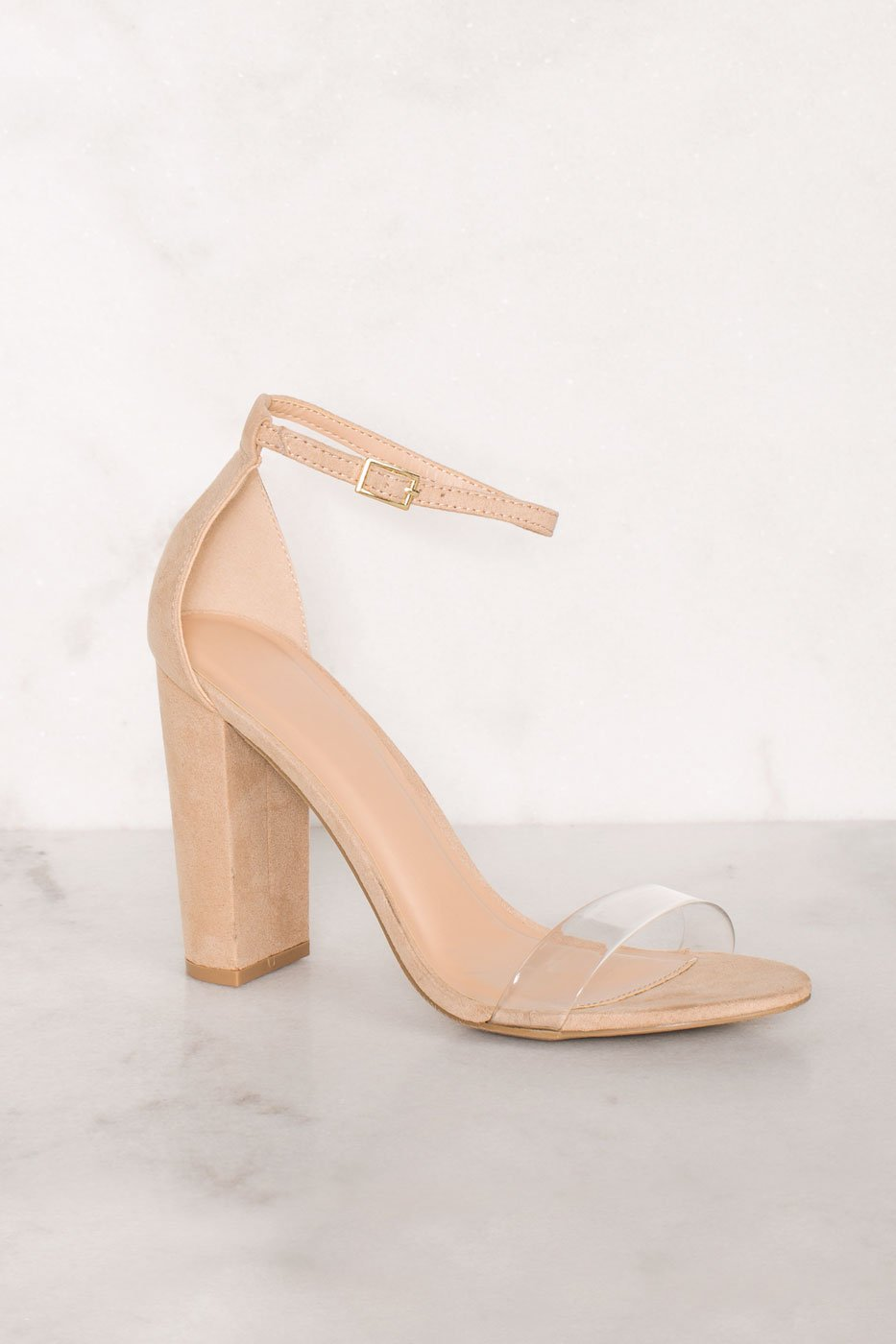 0927702b5f1b ... Shoes - Cynthia Nude Vegan Suede Ankle Strap Heels - Nude ...