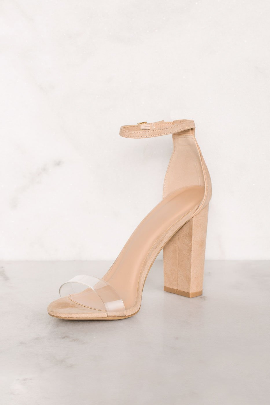 f0b46f2ec65 Shoes - Cynthia Nude Vegan Suede Ankle Strap Heels - Nude ...