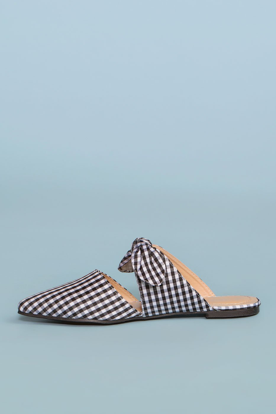 Shoes - Fiona Bow Pointy Toe Mules - Gingham