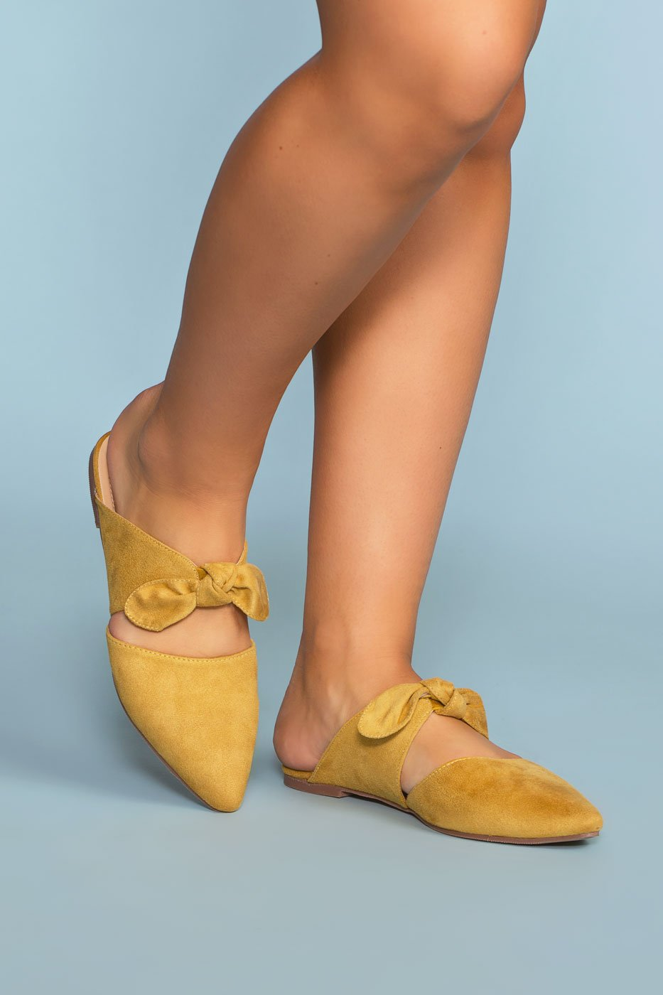 7c7044599d69 ... Shoes - Fiona Bow Pointy Toe Mules - Mustard ...