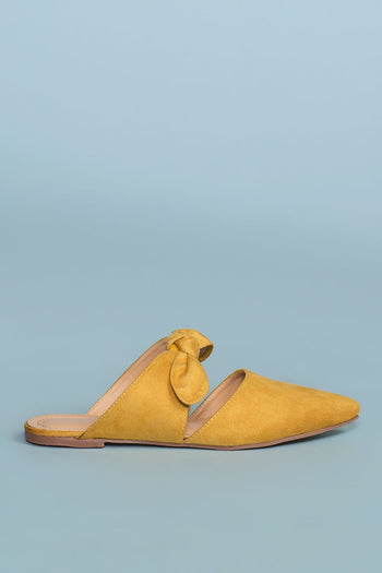 Shoes - Fiona Bow Pointy Toe Mules - Mustard