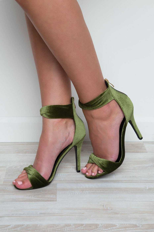 Shoes - Isla Velvet Heels - Olive