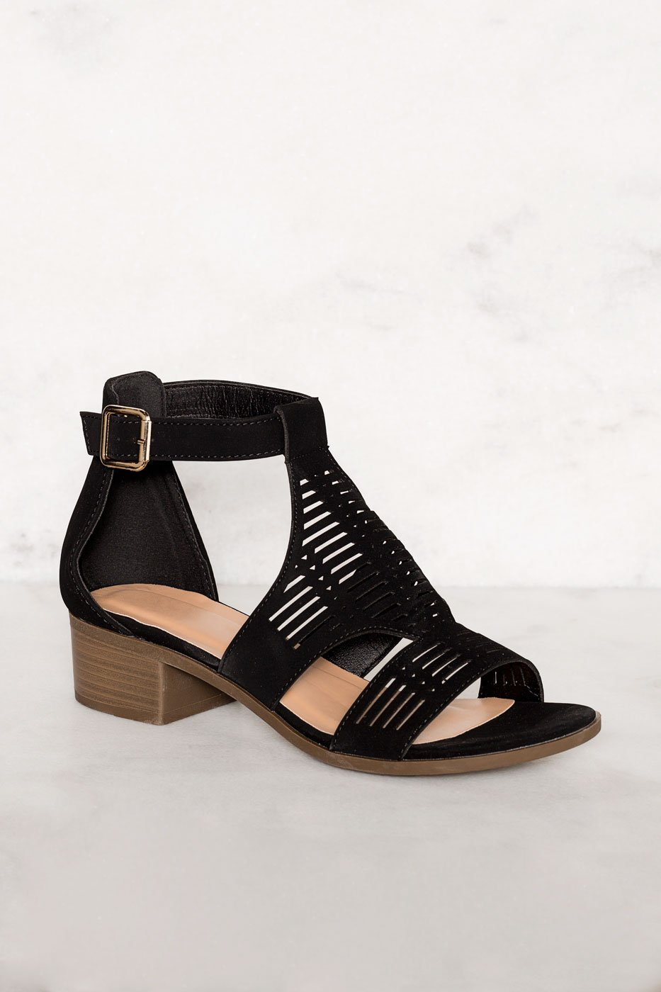 3d2f5b36345 ... Shoes - Jilian Low Block Heel Sandals - Black ...
