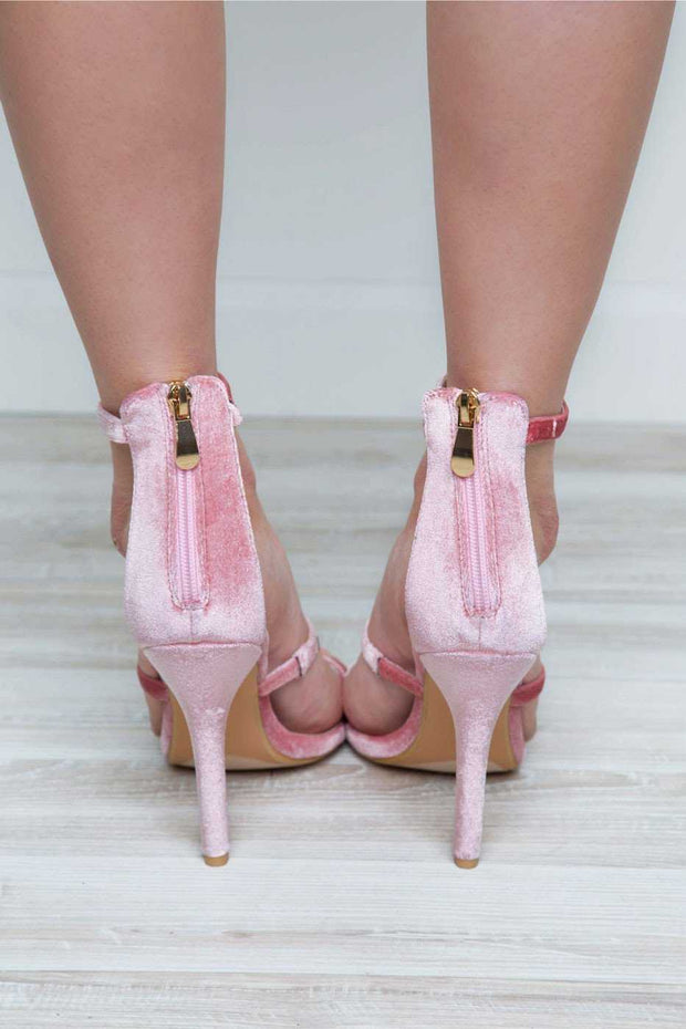 Shoes - Katarina Velvet Heel - Blush