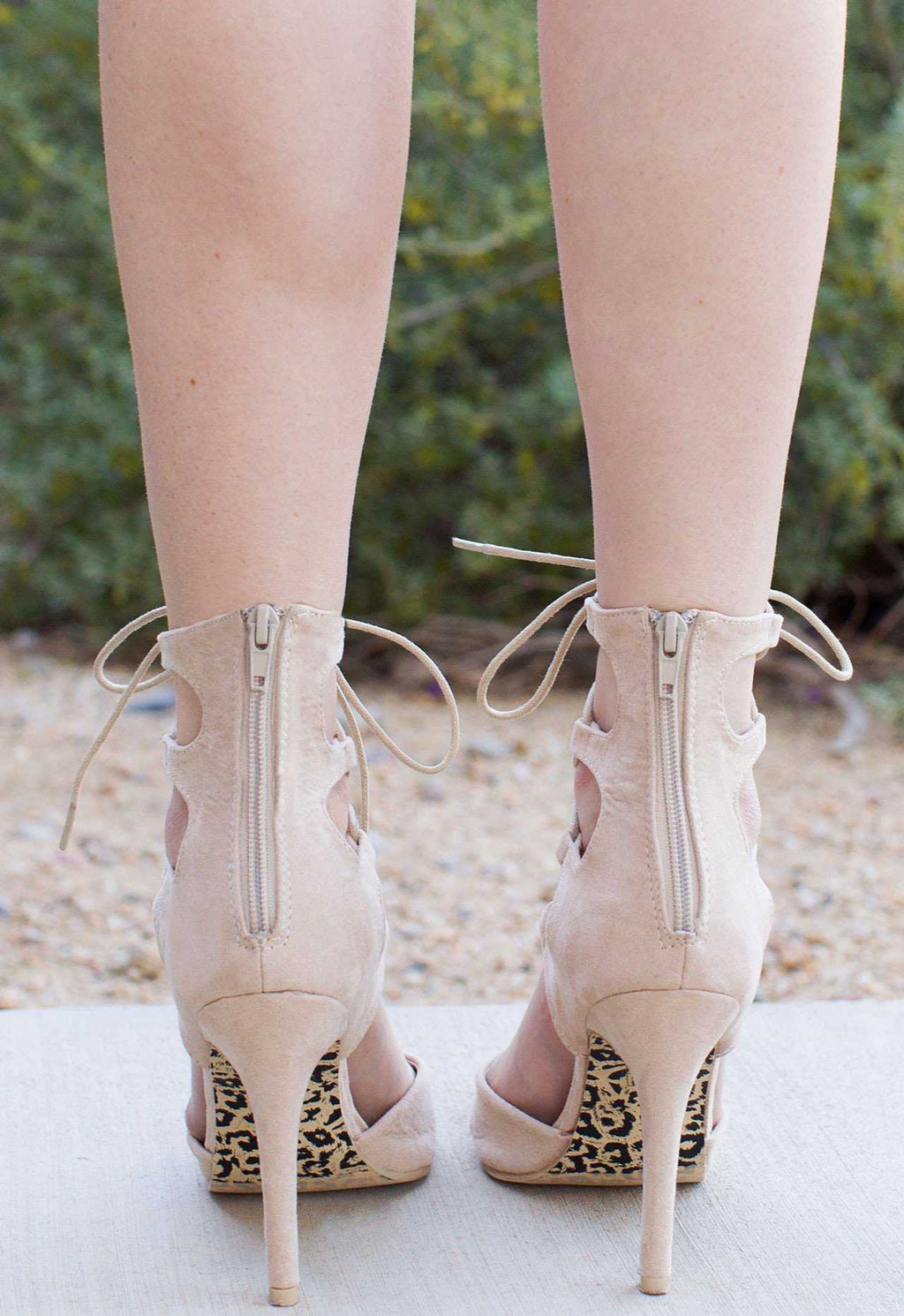 Shoes - Khaleesi Queen Lace Up Heels - Ivory