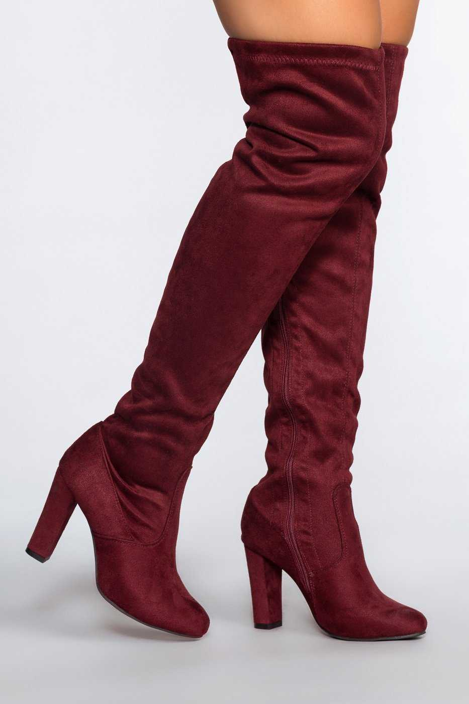 27d20d5dff2 ... Shoes - Lose Control Thigh High Boots - Wine ...