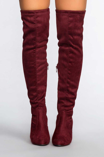 Lose Control Thigh High Boots - Wine 10a58763b