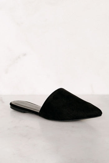 Shoes - Lucy Black Pointed Toe Slides