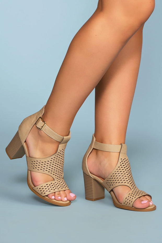 Shoes - Santa Maria Perforated Heels - Beige