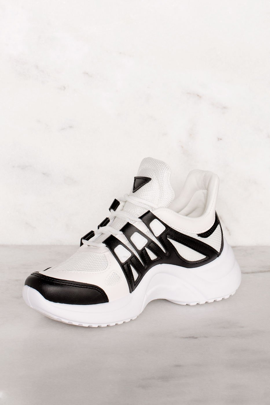 Shoes - Sporty Black And White Athletic Sneakers