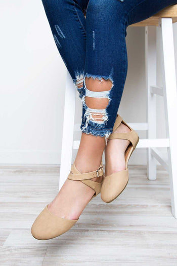 Shoes - Strap In Flats - Beige