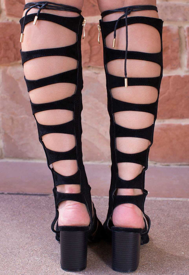 Shoes - Sun Dance Gladiator Heels - Black