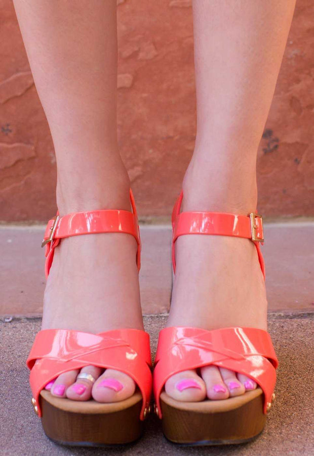 Shoes - Terese Jelly Wedges - Coral