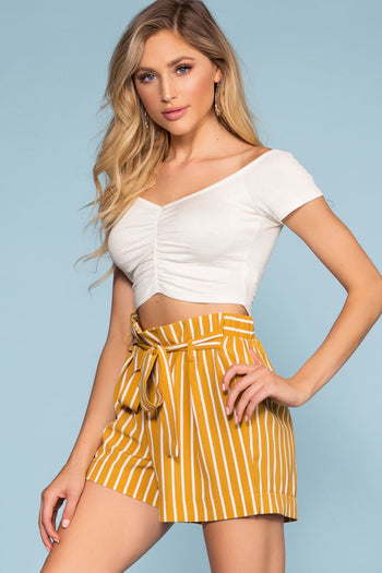 Mustard Stripe High Waisted Shorts