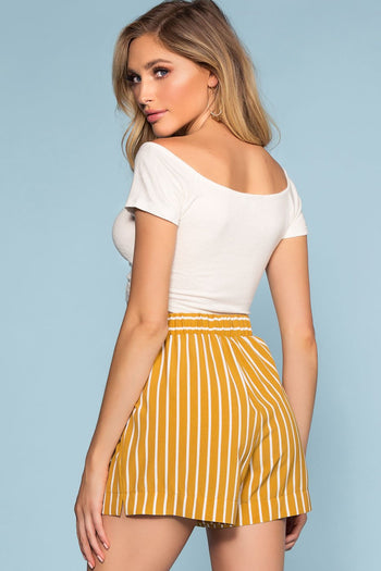Shorts - Alex West Stripe High Waisted Shorts - Mustard