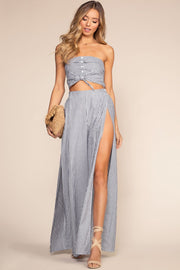 Blue Stripe Pants with Side Slits
