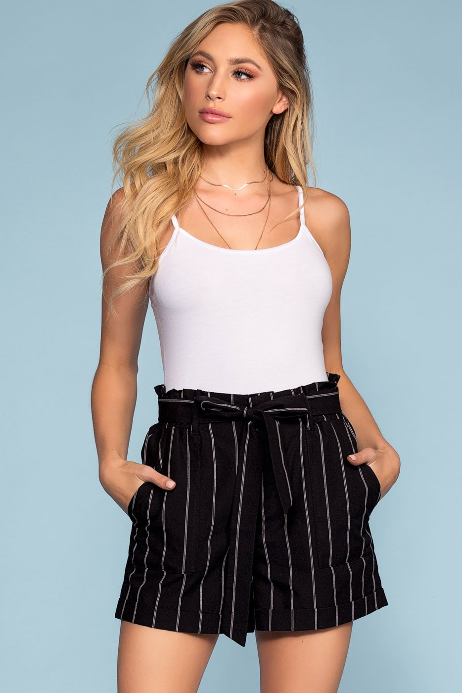 Shorts - Clairmont High Waisted Stripe Shorts - Black