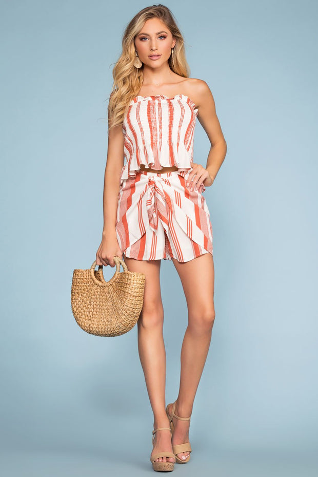 Coral Striped Wrap Shorts