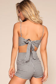 Black and White Highwaisted Gingham Shorts