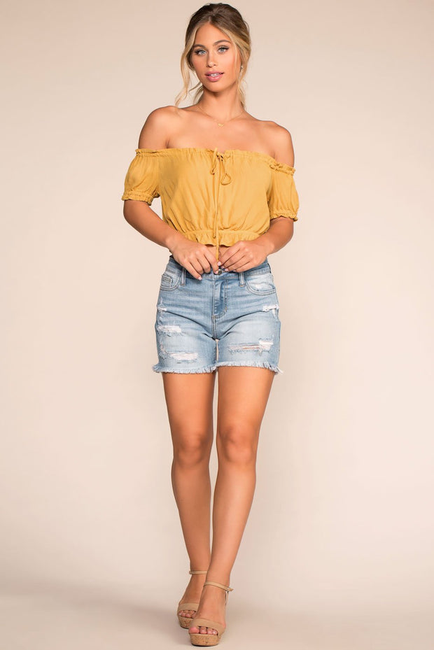 Light Wash Distressed Denim Shorts