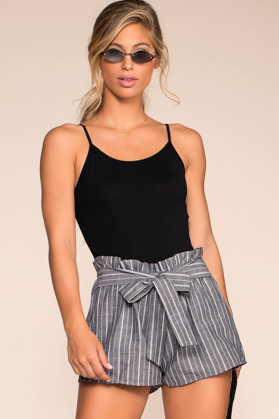 Shorts - Festive Ready Stripe Shorts - Black