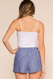 Blue Stripe Drawstring Shorts