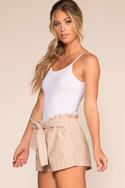 Taupe Stripe Drawstring Shorts