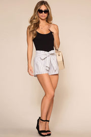 White Stripe Drawstring Shorts
