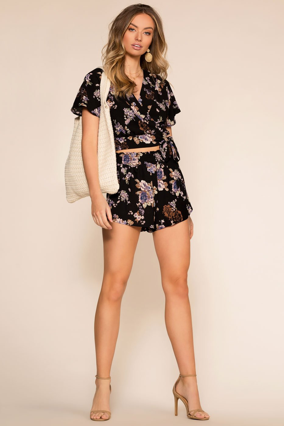 Floral Shorts with Elastic Waist