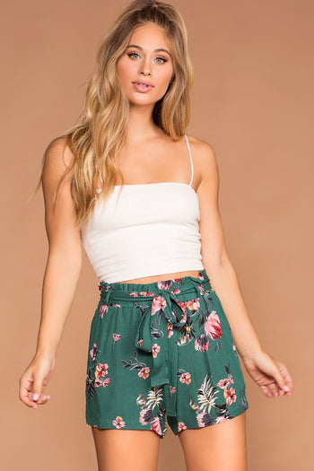 Shorts - Holland Hunter Green High Waisted Floral Paperbag Shorts
