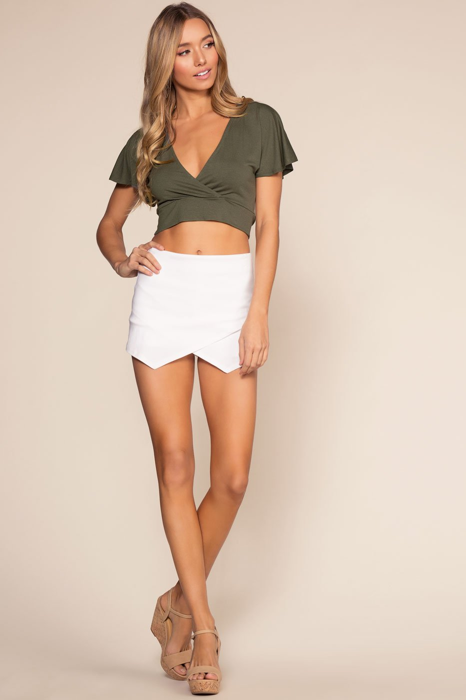 Shorts - Kiss This Envelope Skort - White