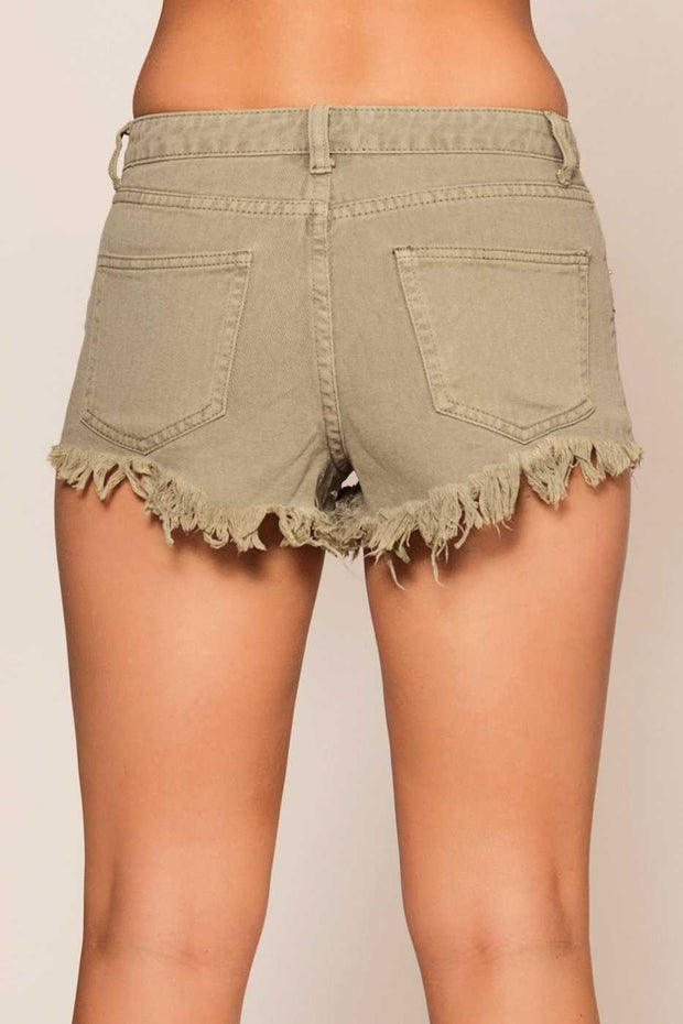 Shorts - Laguna Distressed Shorts - Sage