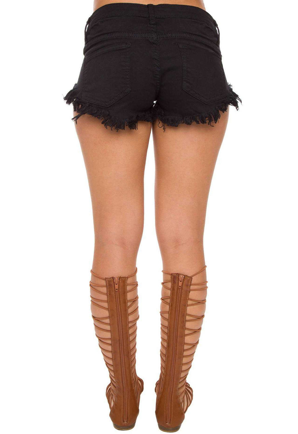 Shorts - Lark Distressed Shorts - Black