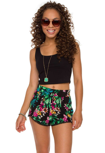 Shorts - My Sharona Tropical Shorts - Black