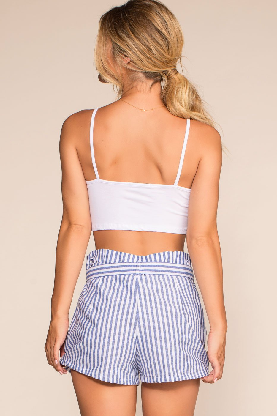 Shorts - Nautical Stripe High Waisted Shorts