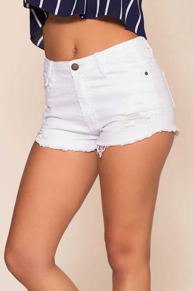 Shorts - Off Road Distressed Shorts - White