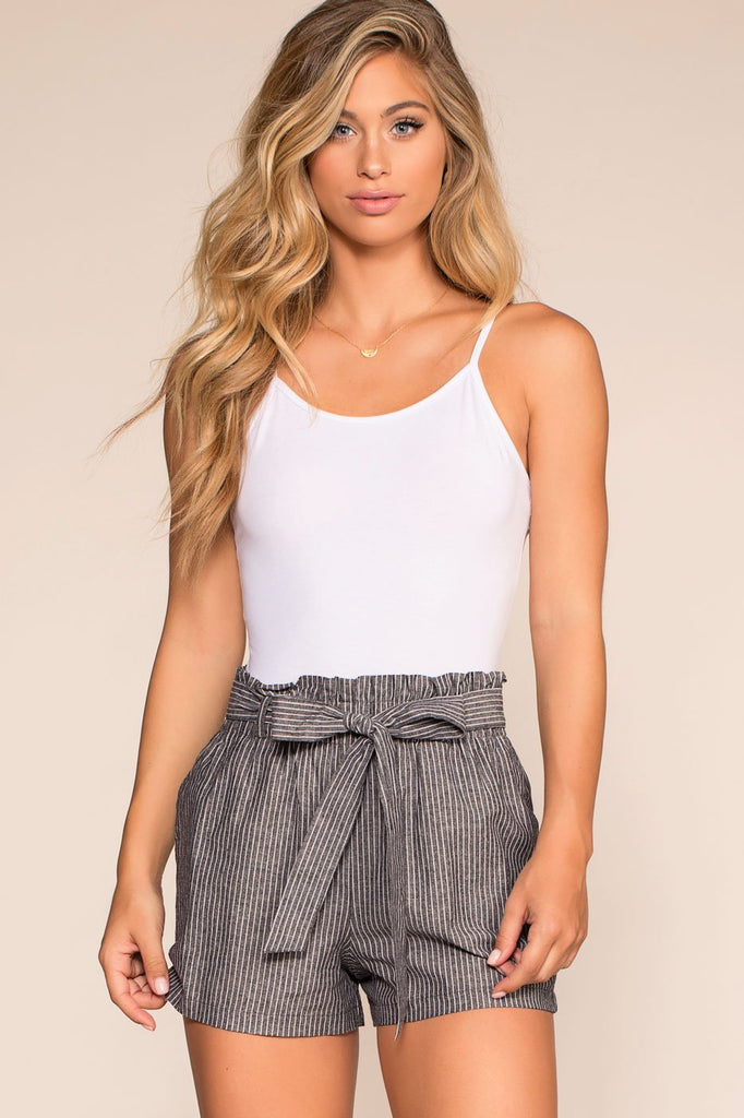 Shorts - Picnic Fiesta High Waisted Stripe Shorts - Black