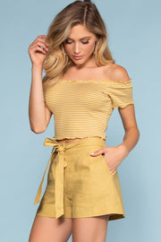Shorts - Rory Tie-Front Linen Shorts - Mustard