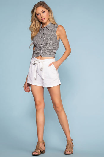 Shorts - Rory Tie-Front Linen Shorts - White