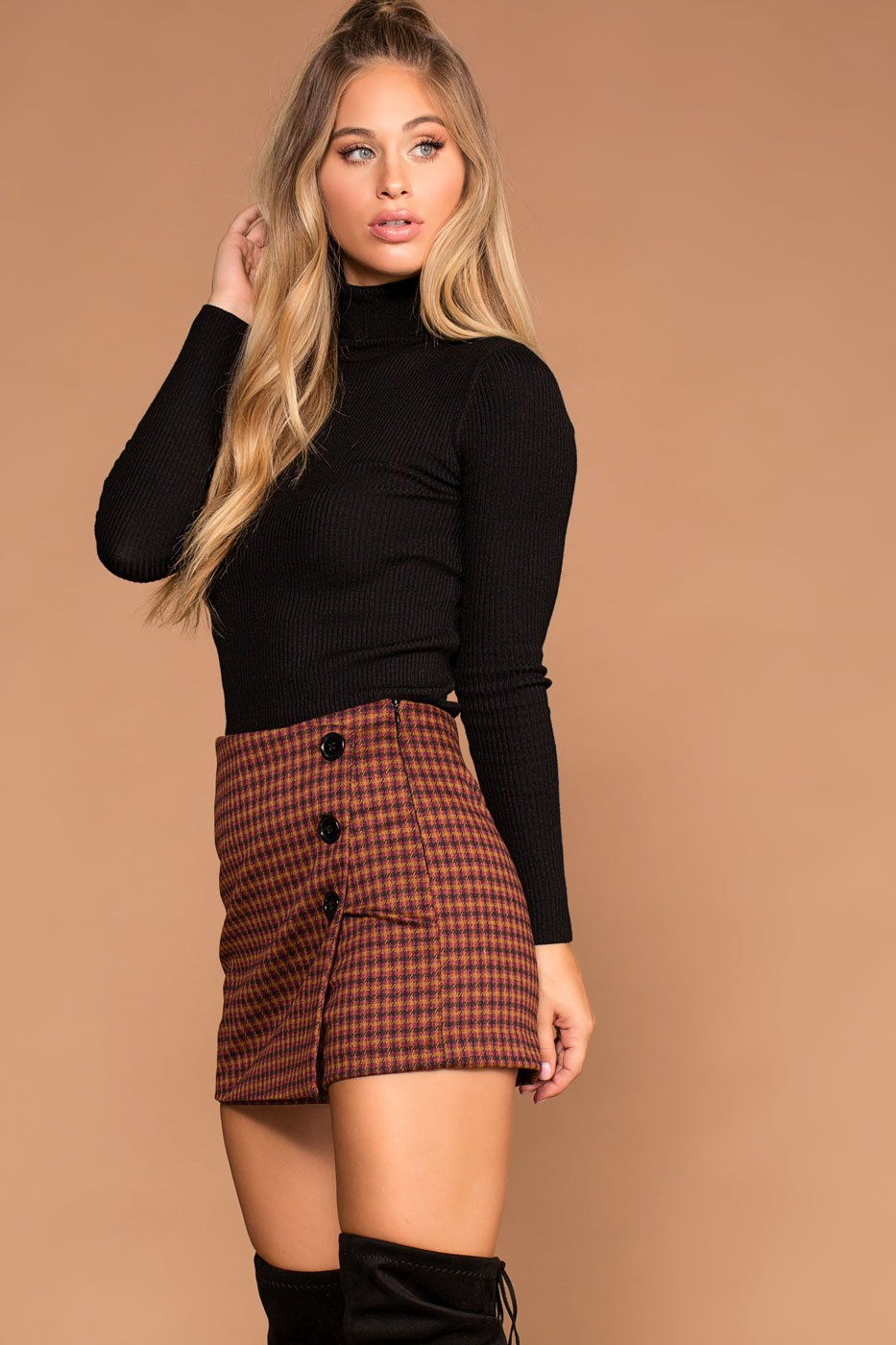 Shorts - Sierra Rust Plaid Button Skort