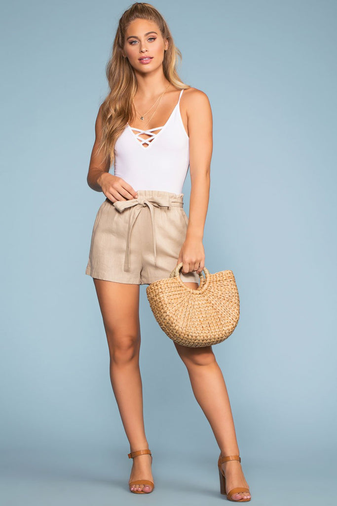 Shorts - Summer Air High Waisted Linen Shorts - Khaki
