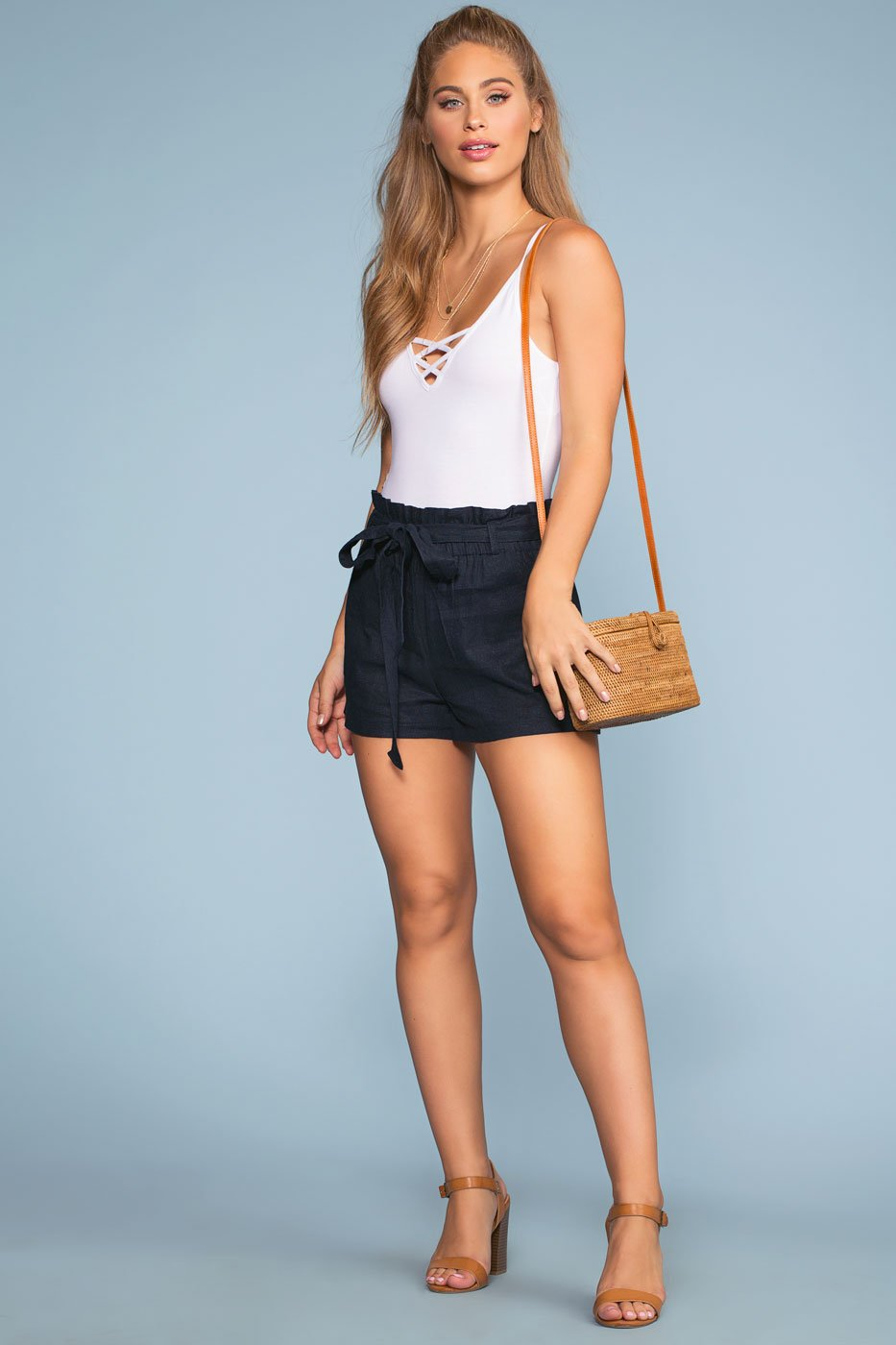 Shorts - Summer Air High Waisted Linen Shorts - Navy