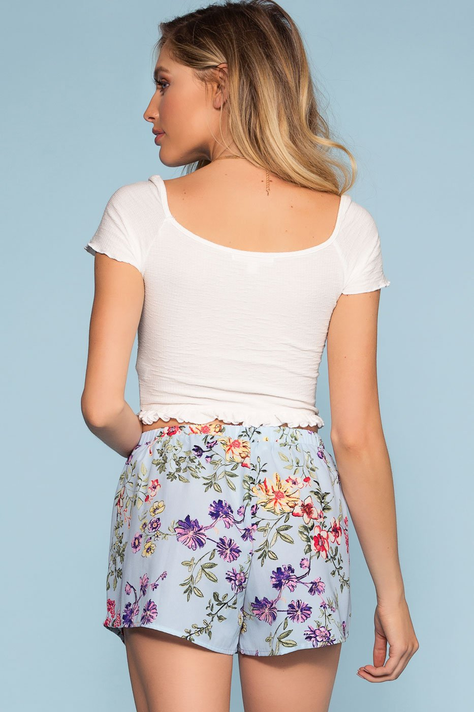 Shorts - Sunday Blossom Floral Shorts - Blue