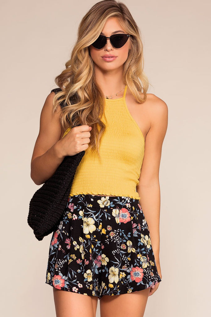 Shorts - Sunday Brunch High Waisted Floral Shorts - Black