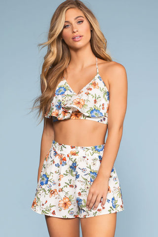 Sunday Brunch High Waisted Floral Shorts - Black