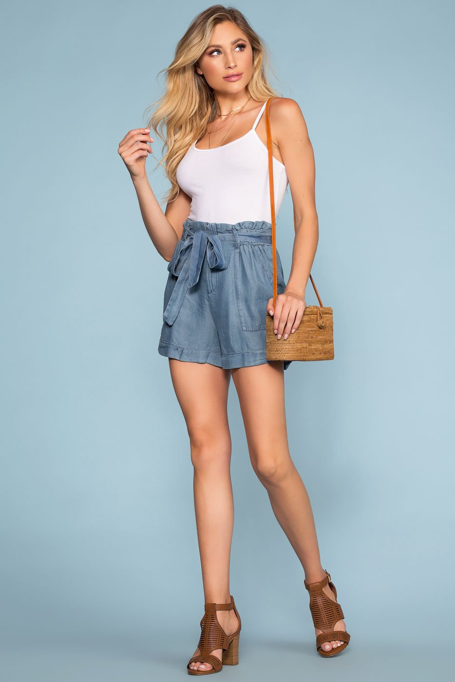 Shorts - Tate High Waist Chambray Shorts